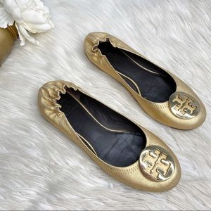 Tory Burch Leather Ballet Flats Metallic Gold